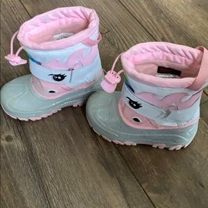 Cat & Jack Shoes - Girls size 10 unicorn snow boots